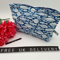 Storage bag,  case in blue and white fish cotton fabric.