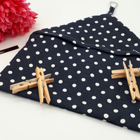 Peg bag in navy blue and white polkadot cotton fabric,  free uk delivery