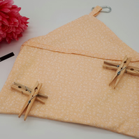Peg bag in peach floral fabric, free uk delivery