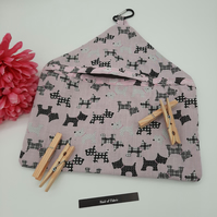 Peg bag in pink scottie dog fabric