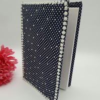 SALE Notebook with beaded polkadot cover