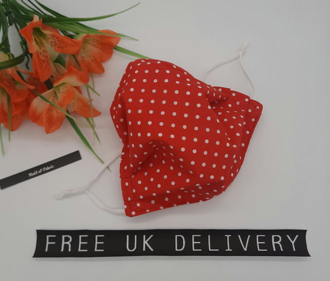 Face mask,  medium,  adjustable,  3 layer,  nose wire,  washable in red polkadot