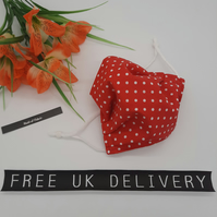 Face mask, small, adjustable,  3 layer,  nose wire,  washable in red polkadot