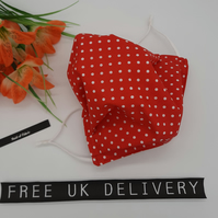 Face mask,  large,  adjustable,  3 layer,  nose wire,  washable in red polkadot