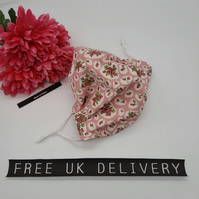 Face mask,  medium, nose wire, 3 layer, adjustable, washable in pink flower