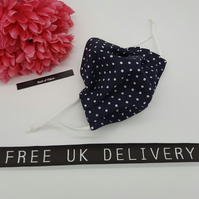 Face mask, small, nose wire,3 layer,  adjustable, washable in navy polkadot