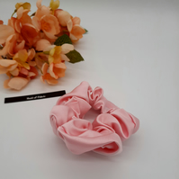 Hair scrunchie in pink satin fabric. Free uk delivery, 3 for 2 offer..
