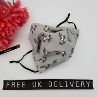 Face mask,  medium,  adjustable,  nose wire,  3 layer,  washable in unicorn