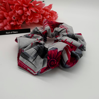 Scrunchie made using a light grey and pink pattern fabric.  3 for 2 offer.