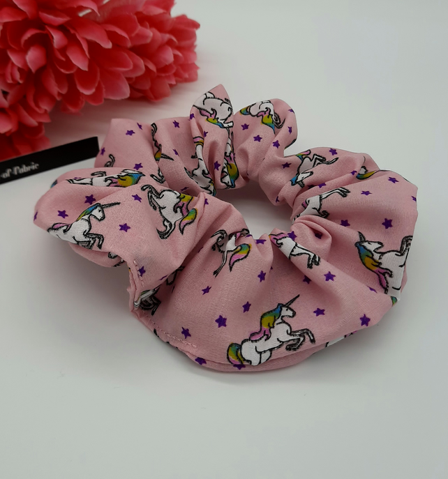 Scrunchie made using a pink unicorn fabric.  3 for 2 offer.