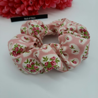 Scrunchie made using a pink rose and white fabric.  3 for 2 offer.