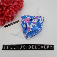 Face mask,  small, blue and pink floral,  adjustable,  3 layer, nose wire