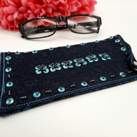 Glasses case in blue denim, teal sequins and gun metal seed beads