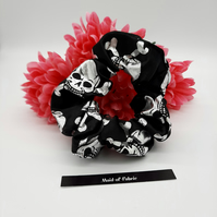 Scrunchie,  black and silver skull and cross bones. 3 for 2 offer.