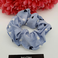 Scrunchie,  blue and white stripe hearts cotton. 3 for 2 offer.
