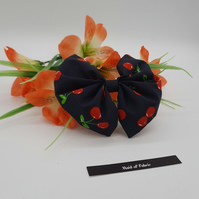 Bow clip, navy blue cherry,  3 for 2 offer.
