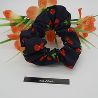 Scrunchie,  navy cherry fabric,  3 for 2 offer.