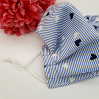 Face mask,  medium,  blue and white stripe,  hearts, adjustable,  nose wire