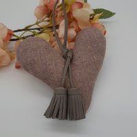 Heart hanger,  free uk delivery,  dusky pink and grey.