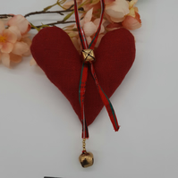 Christmas heart hanger in red with bells, free uk delivery