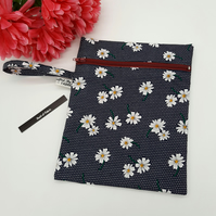 Zipped pouch with handle, in daisy,  free uk delivery.