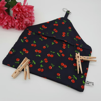 Peg bag in navy cherry cotton,  free uk delivery