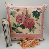 "Cushion 16"" cream floral,  hearts, pink satin boarder."