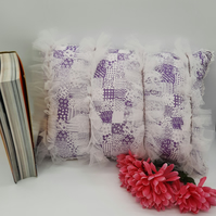 Frill feature cushion in purple and white. Free uk delivery