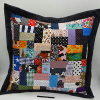 "Denim patchwork 16"" cushion"