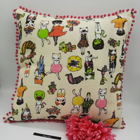 "Crazy cats 16"" cushion with pink bobble trim, free uk delivery."