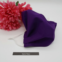 Large purple cotton face mask, adjustable elastic,  3 layer,  free delivery