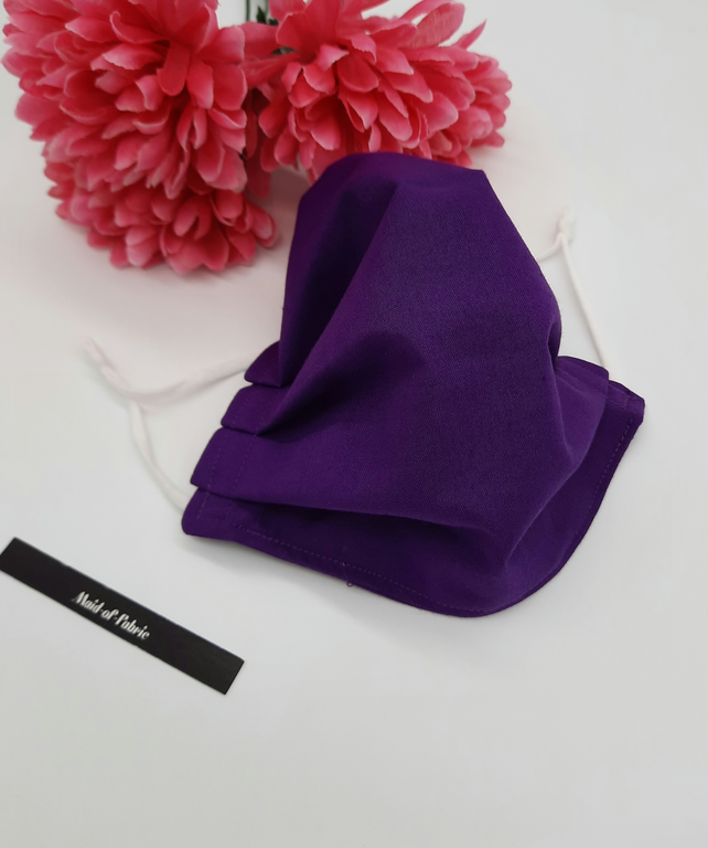 Medium face mask,  purple,  3 layer, adjustable elastic,  free uk delivery