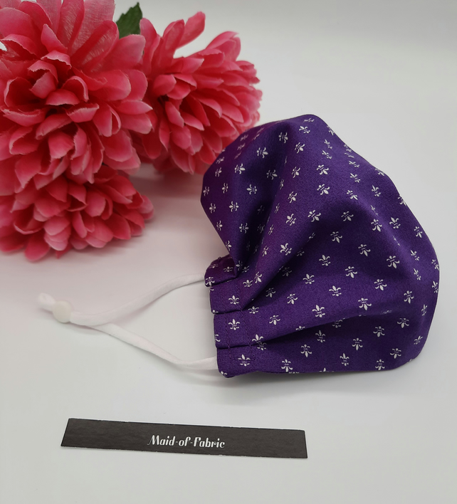 Small face mask,  purple pattern,  3 layer,  adjustable elastic.