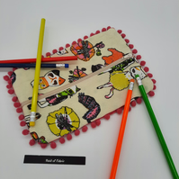 Crazy cats pink bobble pencil case, free uk delivery.
