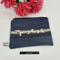 Denim (upcycled) and polka dot makeup cosmic bag.