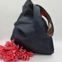 Japanese knot bag,  medium shoulder bag,  denim with rose lining.