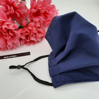 Face mask, medium,  navy, 3 layer, nose wire,  adjustable.
