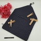 Navy blue polkadot, carabiner clip on peg bag, free uk delivery.