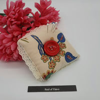 Pin cushion in cream with lace trim upcycled fabric. Free uk delivery.