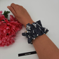 Ruffled hair scrunchie,  navy blue daisy polkadot,  3 for 2 offer