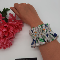 Ruffled scrunchie,  toucan fabric,  3 for 2 offer.