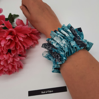 Ruffled scrunchie Green Black and white cotton,  3 for 2 offer.