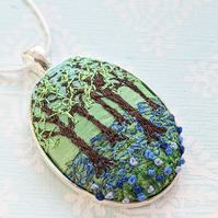 Bluebell wood embroidered necklace pendant
