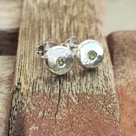 Recycled Silver earrings, silver stud earrings,pebble stud earrings