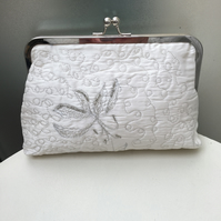 Ivory and Silver Screen Printed and Machine Embroidered Silk Clutch bag