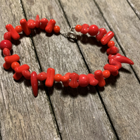 SALE! Red mixed shapes glass bead bracelet