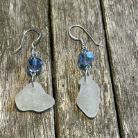 Sterling silver earrings with sea glass