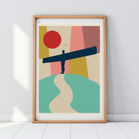 Angel Of The North Mid Century Modern Geometric Art Print Poster