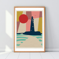 St Mary's Lighthouse Whitley Bay Geometric Art Print Poster