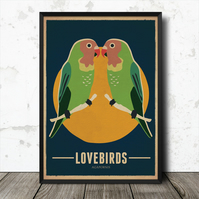 Lovebirds Birds Vintage Retro Style Nature Poster Print